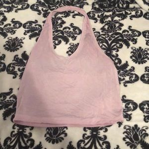 ae soft and sexy pink halter crop top
